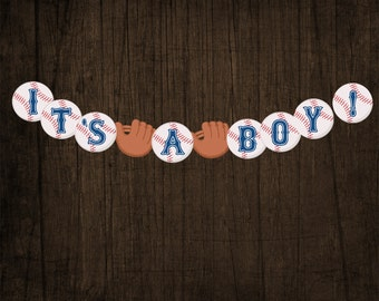 IT'S A BOY Baseball Baby Shower Banner