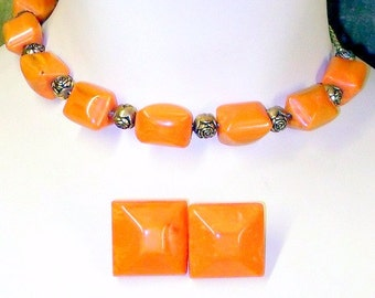 Vintage Beads Necklace and Earrings Set  Pumpkin Orange Antique Chunky Beaded Necklace Button Earrings