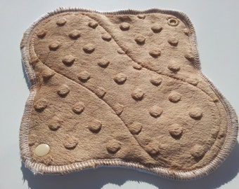 One 8 Inch Fleece Backed Dimple Dot Minky Topped Cloth Winged Mama Pad - Latte