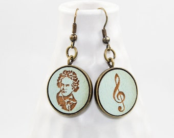 Beethoven Earrings - Classical Composer Portrait (Pale Aqua Wood / Copper)