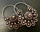 tribal silver filigree handmade hoops