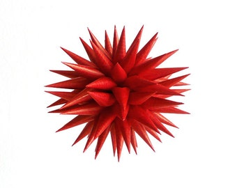 Harvest Decoration Natural Red Paper Ornament Star Urchin Folk Art Modern Country Home Decor Spiky Ball - Natural Cranberry, 3 inch