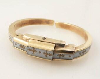 Vintage Ernest Borel Enamel Gold Plated Ladies Swiss Watch with Fleur-de-lis Motif