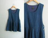 vintage '90s blue DENIM sleeveless pleated APRON-style PINAFORE / mini dress. size l xl.