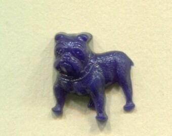 Vintage Plastic Blue Bull Dog Realistic Button Goofy
