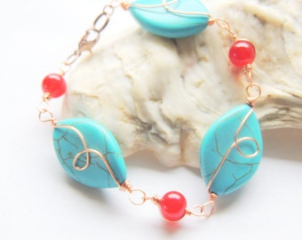 Turquoise and Copper Bracelet, Turquoise and Red, Copper Wire Wrap, Handcrafted Jewelry, Gemstone Jewelry