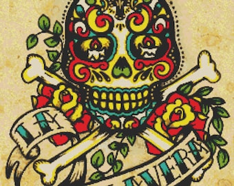 Dia De Los Muertos Tattoo Cross Stitch Kit 'La Calavera' By Illustrated Ink. - Day of the Dead - Skull Needlecraft Kit