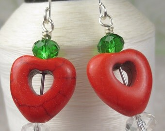 Red Heart Earrings in Magnesite and green and clear crystals, christmas earrings, valentines day earrings