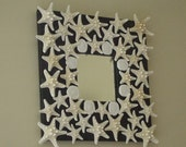 "Beach Cottage, Starfish Mirror, 10"" x 10""Decorated by hand, Home Decor, Wall Mirror,Sea Cookies,White Knobby Starfish, Coastal Living"