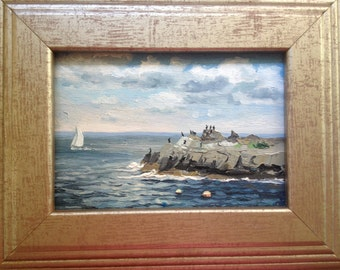 Original oil painting on wood. 5 by 7 inches, York, Maine, View on the left from the Nubble Light house.