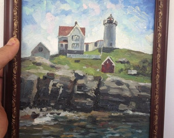 Nubble Lighthouse, York, Maine,Original oil painting on canvas board.  8 by 10