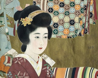 Vintage Gold Illuminated / Gilded Japanese Print of a Woman in a Kimono. 1935 Magazine Cover