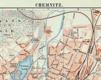 1895 Vintage Map of Chemnitz, Germany. With Street Index - Vintage City Map - Old City Map