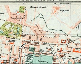 1895 German Vintage Map of Wilhelmshaven, Germany