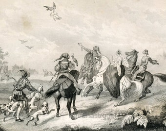 Antique Print of Medieval Life -- Hawking in France and Leaving for the Crusades. 1860 Steel Engraving