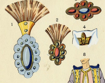 1925 French Art Deco Hand Coloured Pochoir Print on Oriental Jewelry . Plate 10