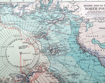 1919 Large Vintage Map of the Region around the North Pole - Antique North Pole Map