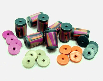 Tube Beads with Spacers - Handmade Poymer Clay Beads