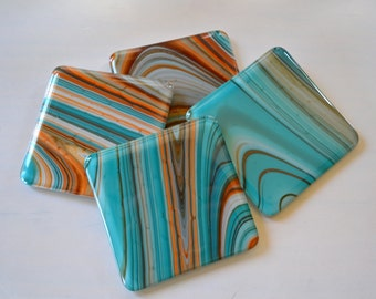 Coasters    Shades of the Southwest Fused Glass