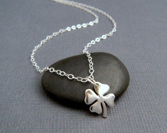 silver four leaf clover necklace. sterling silver lucky charm. st saint patricks day jewelry. sterling good luck shamrock simple. 3/8""