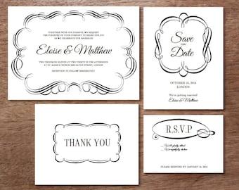 Printable Wedding Invitation Set - Black & White Flourish Borders - Instant Download Invitations, Save the Dates, RSVPs, Info Cards, etc.