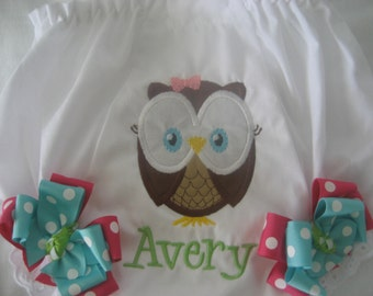 Boutique Owl monogrammed bloomer diaper cover with bows