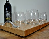 Natural Edge Cherry Wine Glass Serving and Entertaining Tray - Includes 4 Stem-less Wine Glasses