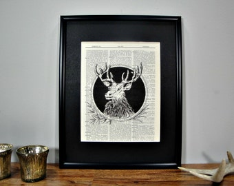 FRAMED Vintage Dictionary Print - Woodland Series - Illustrated Deer