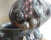 Vintage Assemblage Dangle Earrings Vintage Crystal Drop Pink and Gray