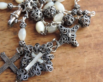 Antique Assemblage Rosary Necklace Antique Filigree Silver Credo Cross Mother of Pearl