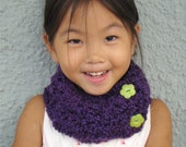 Plum Purple Neckwarmer Cowl Scarf for Girl Age 4 to Teen - cuddlebugkids