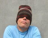 crochet slouchy beanie/ chocolate brown wool