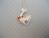 Silver  & Red Reindeer Necklace