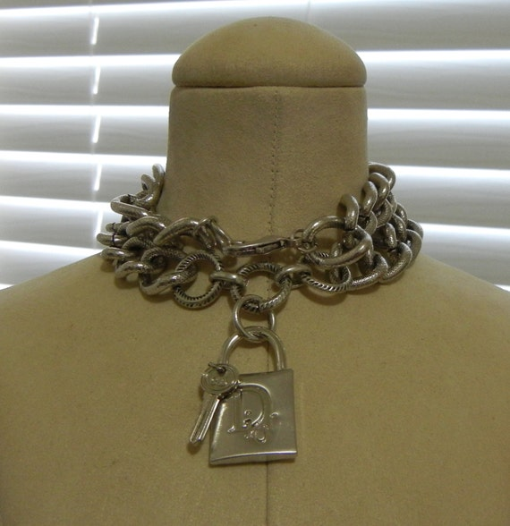 Vintage Christian Dior Authentic Lock And Key Pendant Chunky