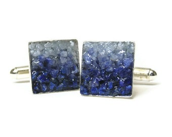 Cuff Links  - Custom Order - Lapis, Sodalite and Angelite Mosaic