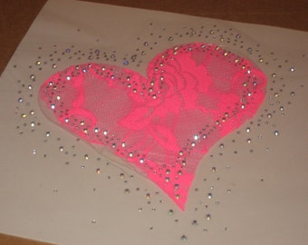 Hot Pink Lace Heart Heat Transfer with Scattered Iridescent Rhinestones