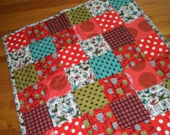Modern Patchwork Baby Quilt Red & Turquoise Blue