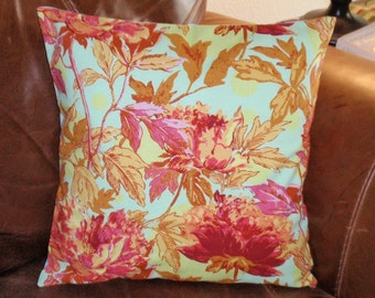 Summer SALE - Throw Pillow Cover, Saffron Orange Peony Floral Accent Pillow Cover, Handmade Floral Decorative Cushion Cover - LAST ONE