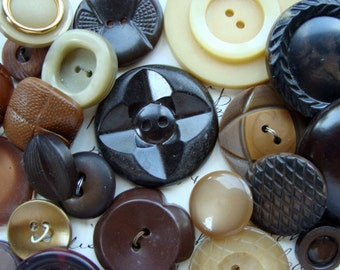 Gorgeous Antique and Large Vintage Buttons Lot Chocolate Carmel Collection N0117  Two Dozen