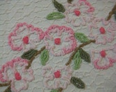 Needle Tuft Floral Vintage Chenille Fabric