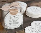 Bulk Wedding Coaster Boxed Set - Eat Drink & Be Married - Letterpress Paper Event Shower Favor Gift Bar Accessory