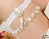 Wedding garter set, bridal garter set, keepsake garter, toss garter, rhinestone chain garter, crystal garters