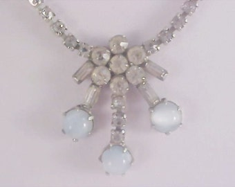Free Ship~Blue Moonstone Diamante Chatons & Baguettes LEO GLASS Silver Plate Necklace/Choker