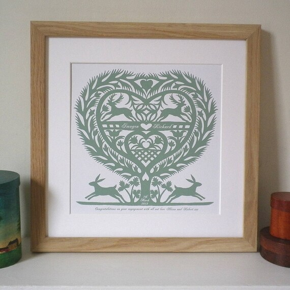 Romantic Folk Art Inspired March Hares Heart Print