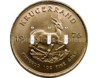 Krugerrand Gold Coin Triple Toggle Switch Plate Cover