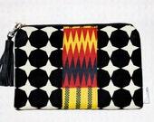 Black and White Polka Dot Bag, Black and white Clutch Wristlet, Polka Dot Cosmetic Case, Womans Fashion