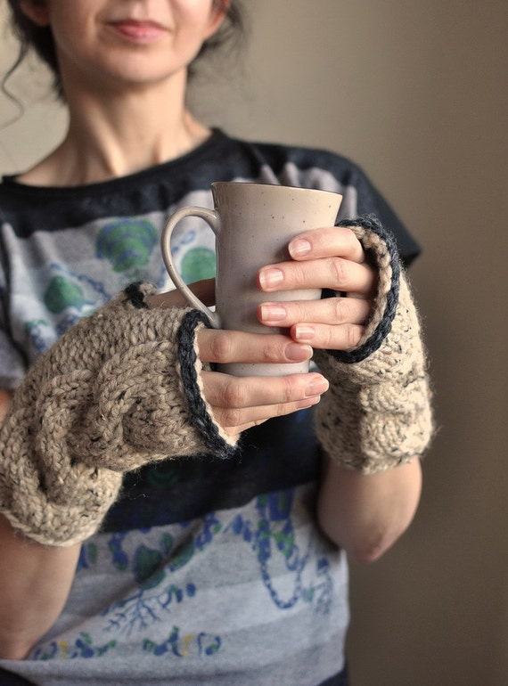 Freezebaby Mittens chunky texture hand knit knitted cable fingerless gloves mitts wristlets in oatmeal or CHOOSE YOUR COLORS Gift under 50