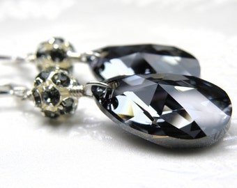 Large Black Crystal Teardrop Earrings, Swarovski Dangle, Sterling Silver, Wedding Jewelry, New Years Eve Party, Mother of the Bride Gift