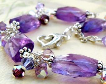 Amethyst Bracelet, Sterling Silver, Natural Purple Stone, February Birthday Birthstone Gift, Genuine Gemstone Wedding Handmade Jewelry