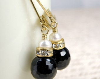 Black Onyx Earrings, Black Gemstone Jewelry, Onyx and Gold Filled Earrings, Drop Pearl Accent Handmade Jewelry, Bridesmaid Earrings